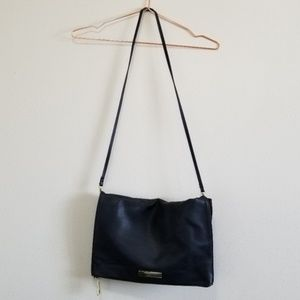 Basic black cross body fold over bag/ clutch
